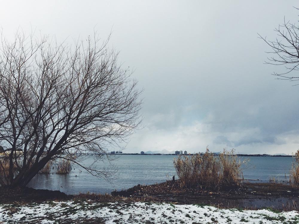 冬のびわ湖の景色