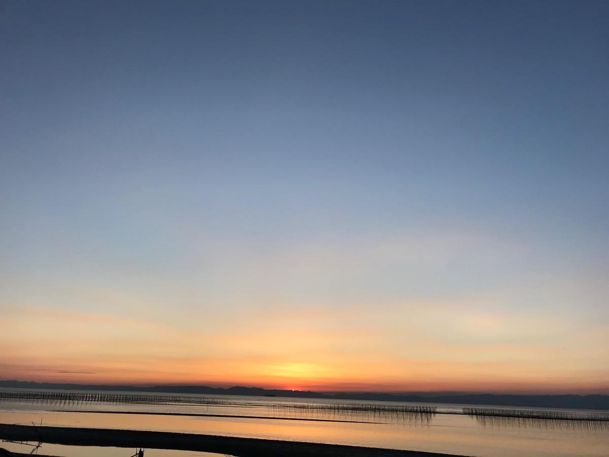 夕日が沈んだ様子